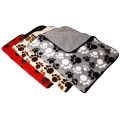 Dog Mat Pet Blanket 53cm X 74cm Red Patches Patterned And Plain Red Sherpa Furs Lucky Pet