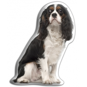 Adorable Black King Charles Cavalier Cushion