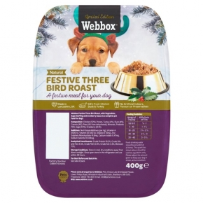 Webbox Festive Christmas Dinner Three Bird Roast For Dogs 400g