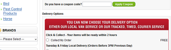 Click and Collect Delivery Option