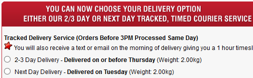Next Day Delivery Screen